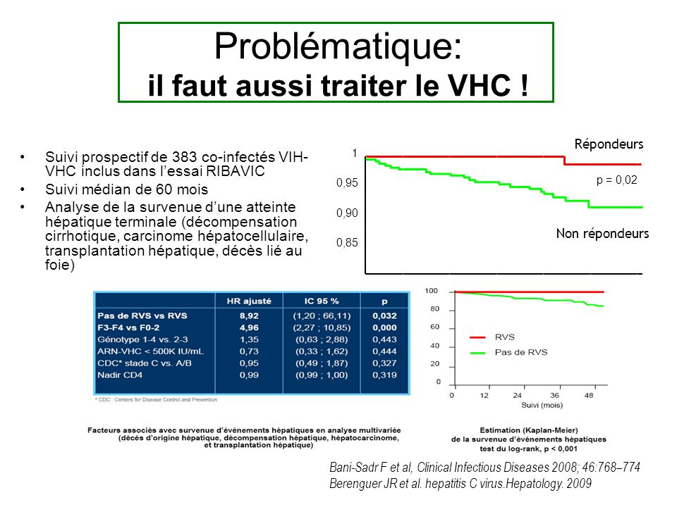 Suivi prospectif de 383 co-infectés VIH- VHC inclus dans lessai RIBAVIC Suivi médian de 60 mois Analyse de la survenue dune atteinte hépatique terminale (décompensation cirrhotique, carcinome hépatocellulaire, transplantation hépatique, décès lié au foie) Répondeurs p = 0,02 1 0,90 0,85 0,95 Non répondeurs Bani-Sadr F et al, Clinical Infectious Diseases 2008; 46:768–774 Berenguer JR et al.