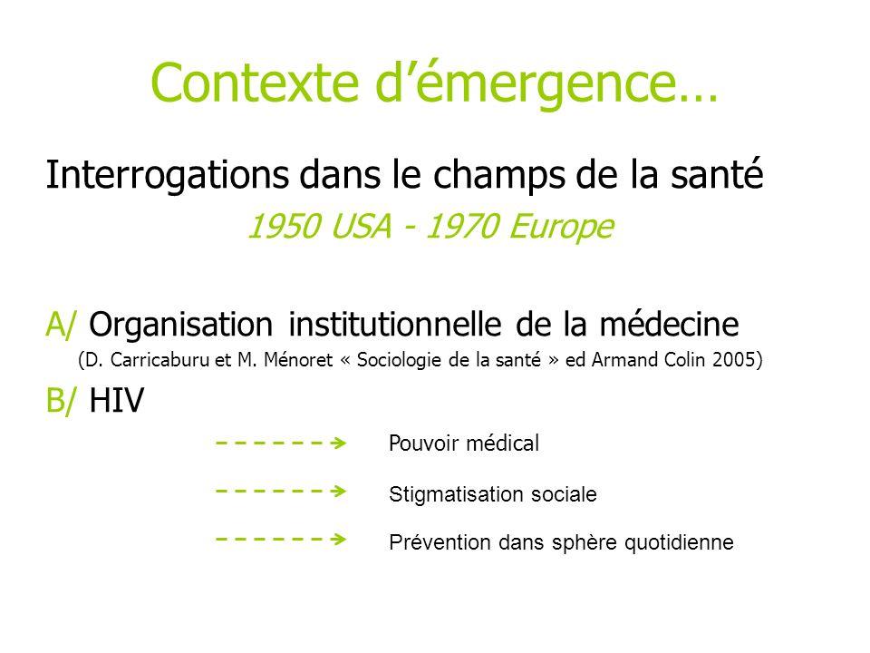 Contexte démergence… Interrogations dans le champs de la santé 1950 USA - 1970 Europe A/ Organisation institutionnelle de la médecine (D. Carricaburu