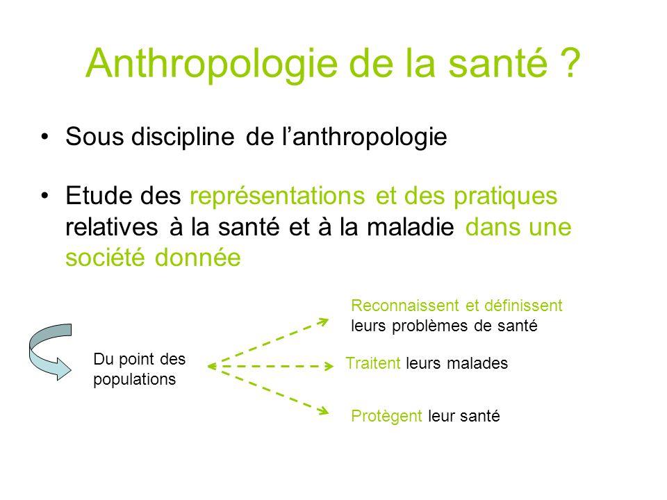 Anthropologie de la santé ? Sous discipline de lanthropologie Etude des représentations et des pratiques relatives à la santé et à la maladie dans une