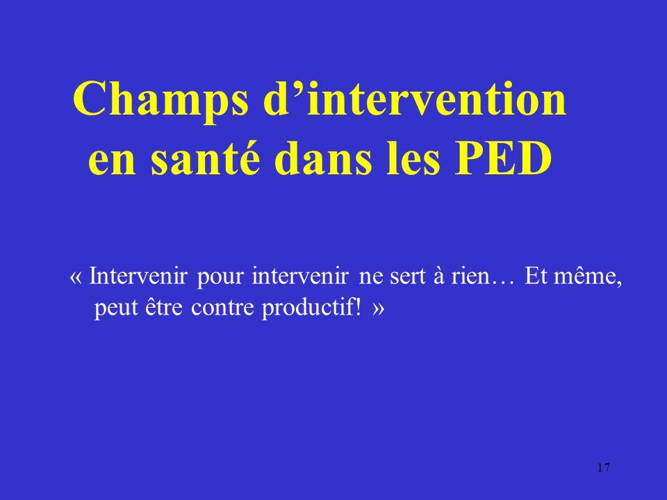 Champs dintervention en santé dans les PED « Intervenir pour intervenir ne sert à rien… Et même, peut être contre productif.