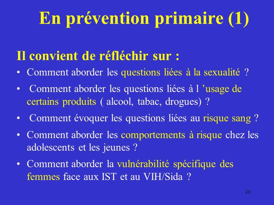 En prévention primaire (1) Il convient de réfléchir sur : Comment aborder les questions liées à la sexualité .