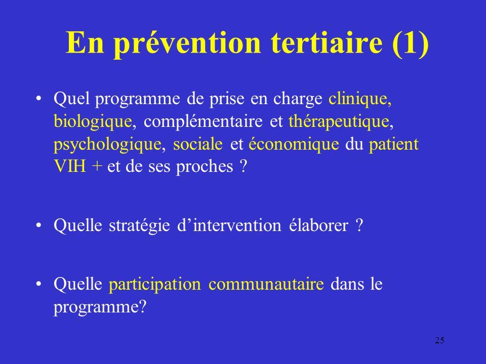 25 En prévention tertiaire (1) Quel programme de prise en charge clinique, biologique, complémentaire et thérapeutique, psychologique, sociale et économique du patient VIH + et de ses proches .