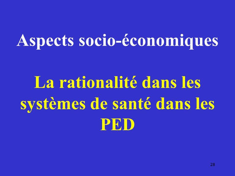 28 Aspects socio-économiques La rationalité dans les systèmes de santé dans les PED