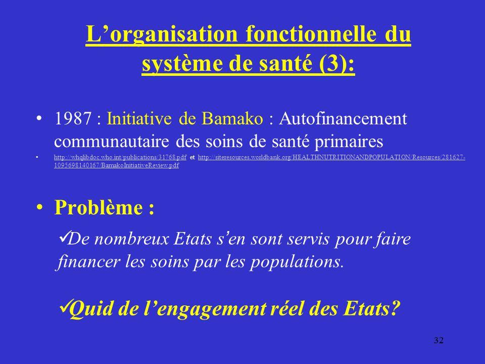 32 Lorganisation fonctionnelle du système de santé (3): 1987 : Initiative de Bamako : Autofinancement communautaire des soins de santé primaires http://whqlibdoc.who.int/publications/31768.pdf et http://siteresources.worldbank.org/HEALTHNUTRITIONANDPOPULATION/Resources/281627- 1095698140167/BamakoInitiativeReview.pdf http://whqlibdoc.who.int/publications/31768.pdfhttp://siteresources.worldbank.org/HEALTHNUTRITIONANDPOPULATION/Resources/281627- 1095698140167/BamakoInitiativeReview.pdf Problème : De nombreux Etats s en sont servis pour faire financer les soins par les populations.