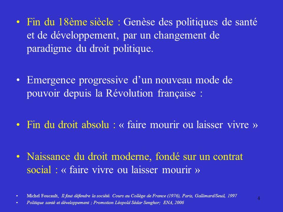 Fin du 18ème siècle : Genèse des politiques de santé et de développement, par un changement de paradigme du droit politique.