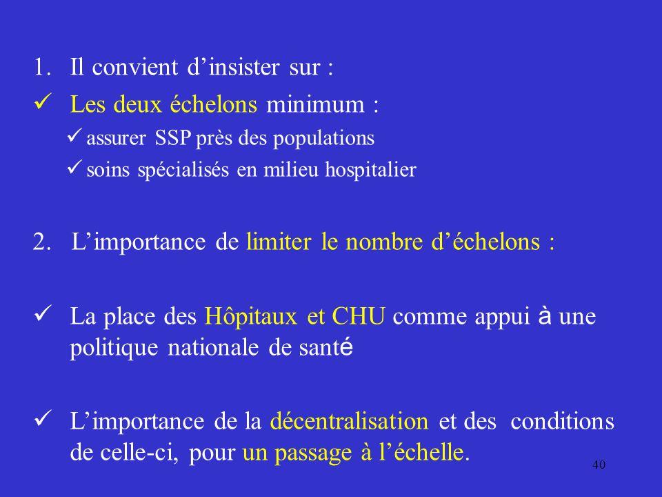 40 1.Il convient dinsister sur : Les deux échelons minimum : assurer SSP près des populations soins spécialisés en milieu hospitalier 2.