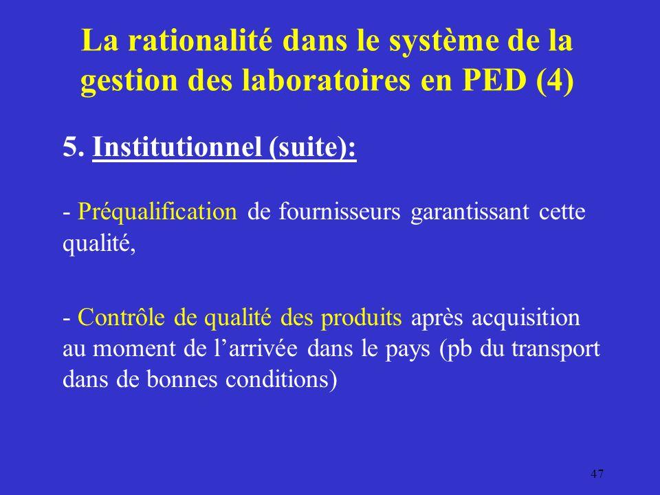 La rationalité dans le système de la gestion des laboratoires en PED (4) 5.