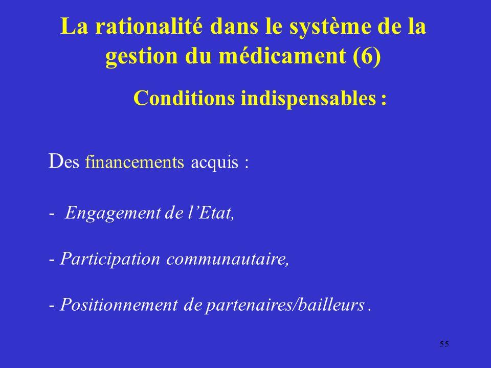 La rationalité dans le système de la gestion du médicament (6) Conditions indispensables : D es financements acquis : - Engagement de lEtat, - Participation communautaire, - Positionnement de partenaires/bailleurs.