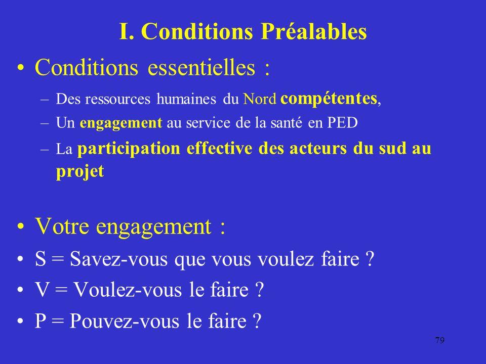 I. Conditions Préalables Conditions essentielles : –Des ressources humaines du Nord compétentes, –Un engagement au service de la santé en PED –La part