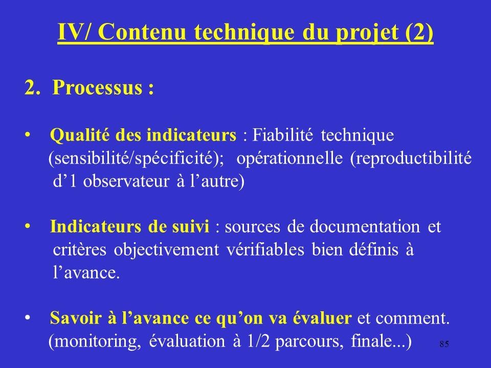 85 IV/ Contenu technique du projet (2) 2.