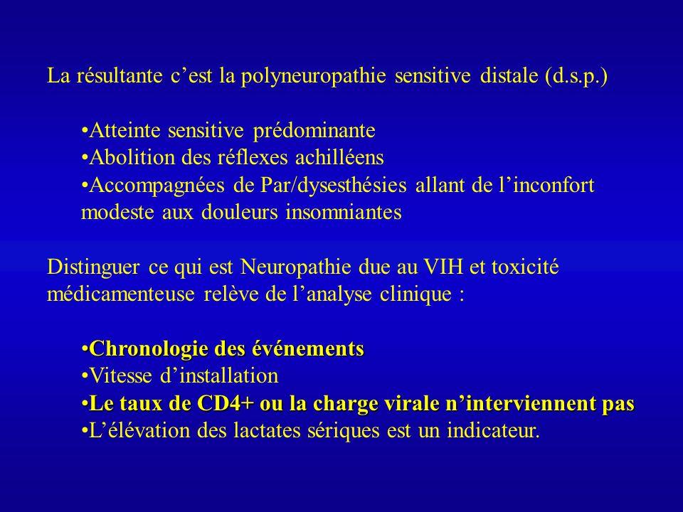 La résultante cest la polyneuropathie sensitive distale (d.s.p.) Atteinte sensitive prédominante Abolition des réflexes achilléens Accompagnées de Par