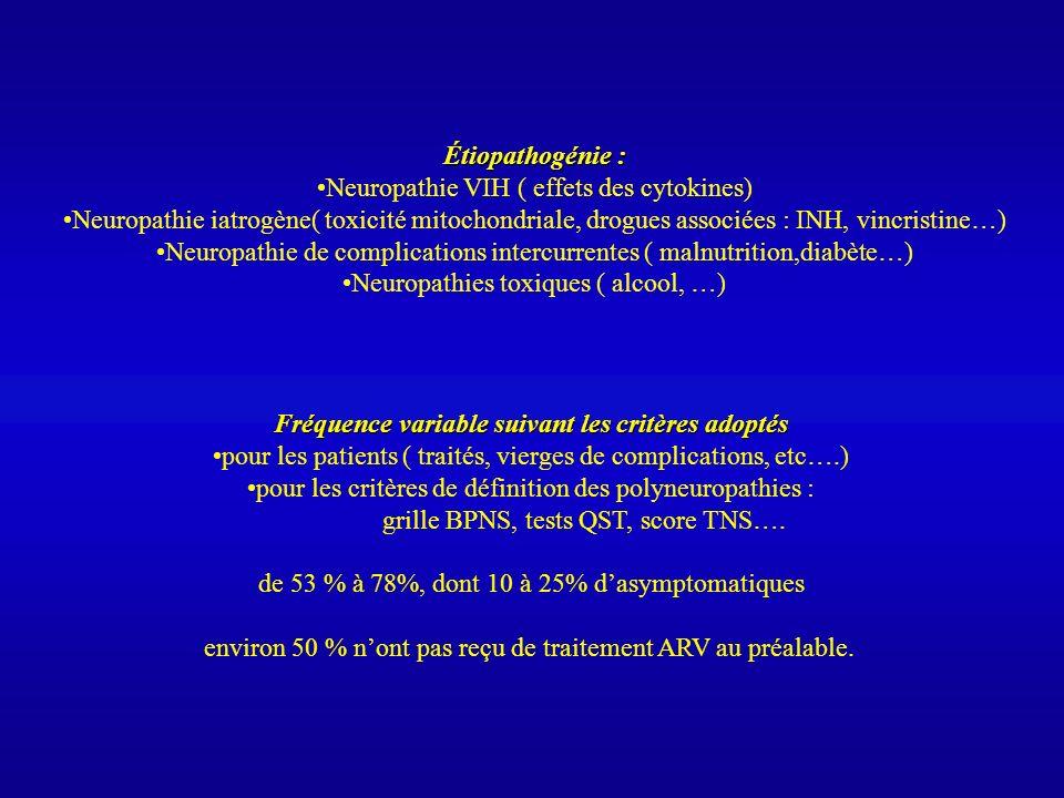 Étiopathogénie : Neuropathie VIH ( effets des cytokines) Neuropathie iatrogène( toxicité mitochondriale, drogues associées : INH, vincristine…) Neurop