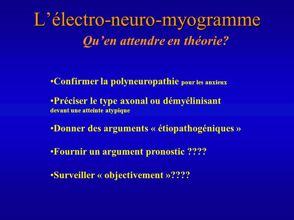 Lélectro-neuro-myogramme Quen attendre en théorie? Confirmer la polyneuropathie pour les anxieux Préciser le type axonal ou démyélinisant devant une a