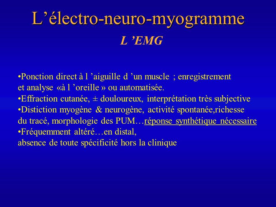 Lélectro-neuro-myogramme L EMG Ponction direct à l aiguille d un muscle ; enregistrement et analyse «à l oreille » ou automatisée. Effraction cutanée,