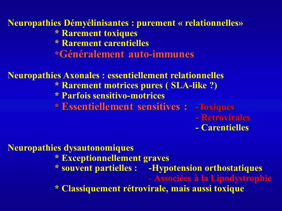 Neuropathies Démyélinisantes : purement « relationnelles» * Rarement toxiques * Rarement carentielles Généralement auto-immunes * Généralement auto-im