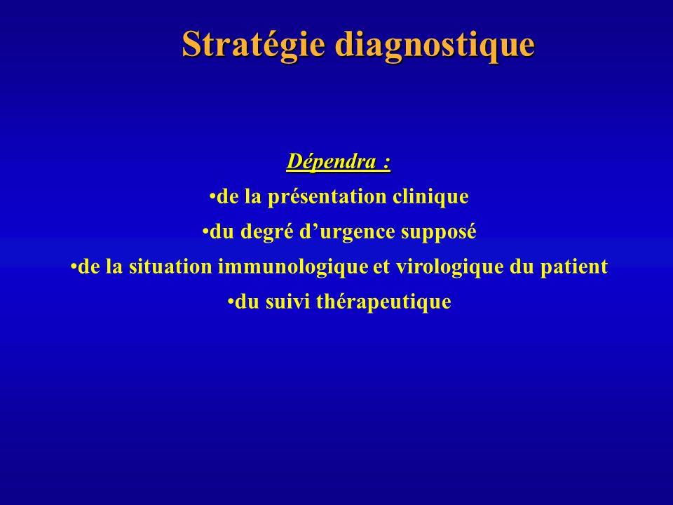 Stratégie diagnostique Dépendra : de la présentation clinique du degré durgence supposé de la situation immunologique et virologique du patient du sui