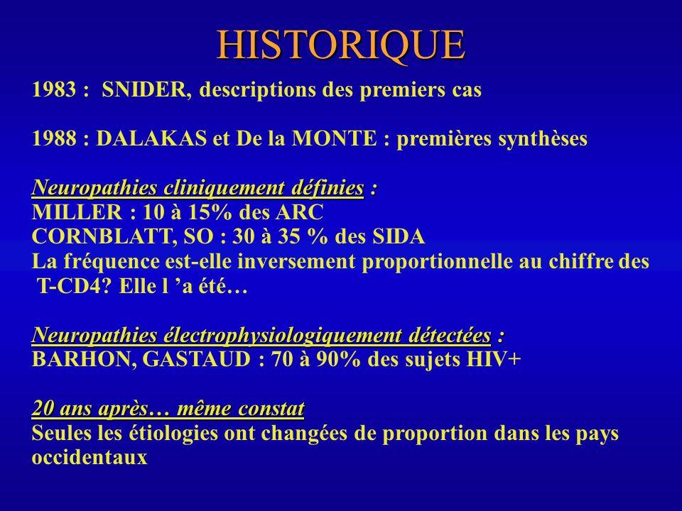 HISTORIQUE 1983 : SNIDER, descriptions des premiers cas 1988 : DALAKAS et De la MONTE : premières synthèses Neuropathies cliniquement définies : MILLE