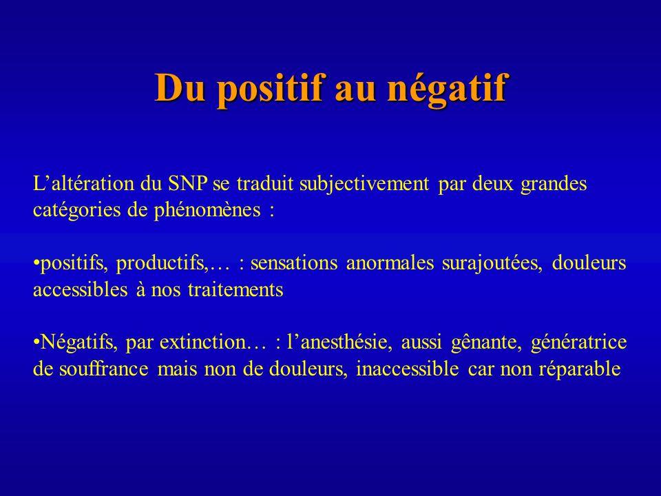 Du positif au négatif Laltération du SNP se traduit subjectivement par deux grandes catégories de phénomènes : positifs, productifs,… : sensations ano