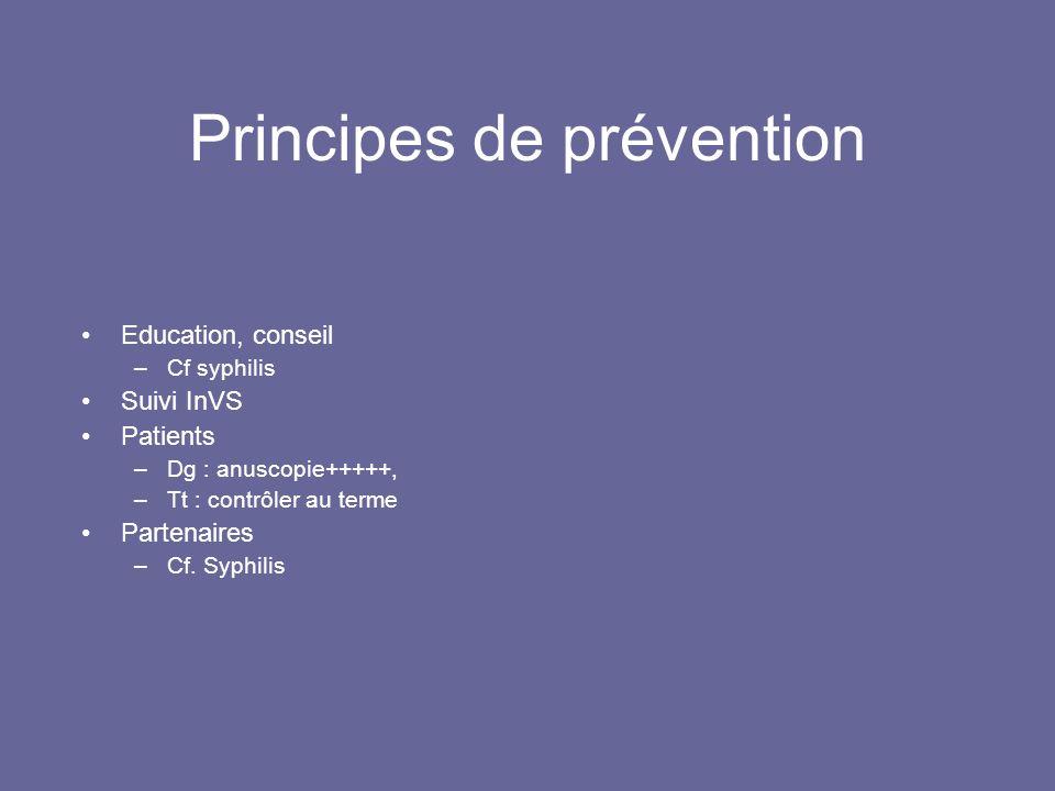 Principes de prévention Education, conseil –Cf syphilis Suivi InVS Patients –Dg : anuscopie+++++, –Tt : contrôler au terme Partenaires –Cf.