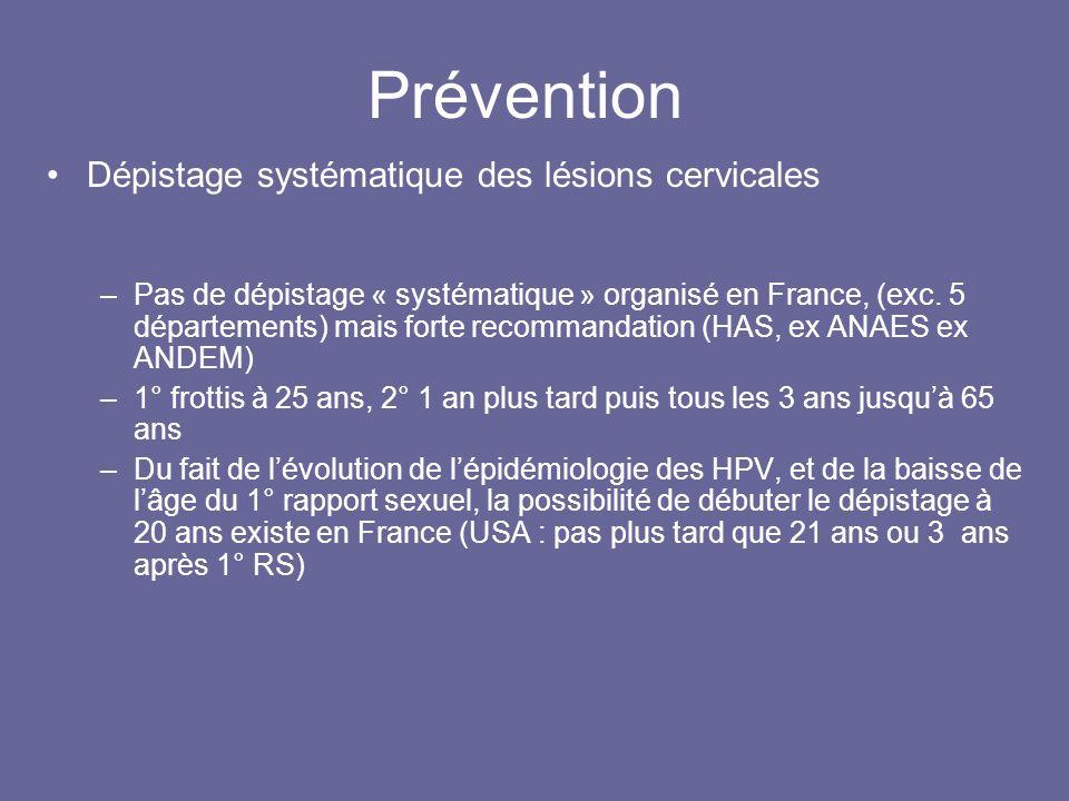 Prévention Dépistage systématique des lésions cervicales –Pas de dépistage « systématique » organisé en France, (exc.