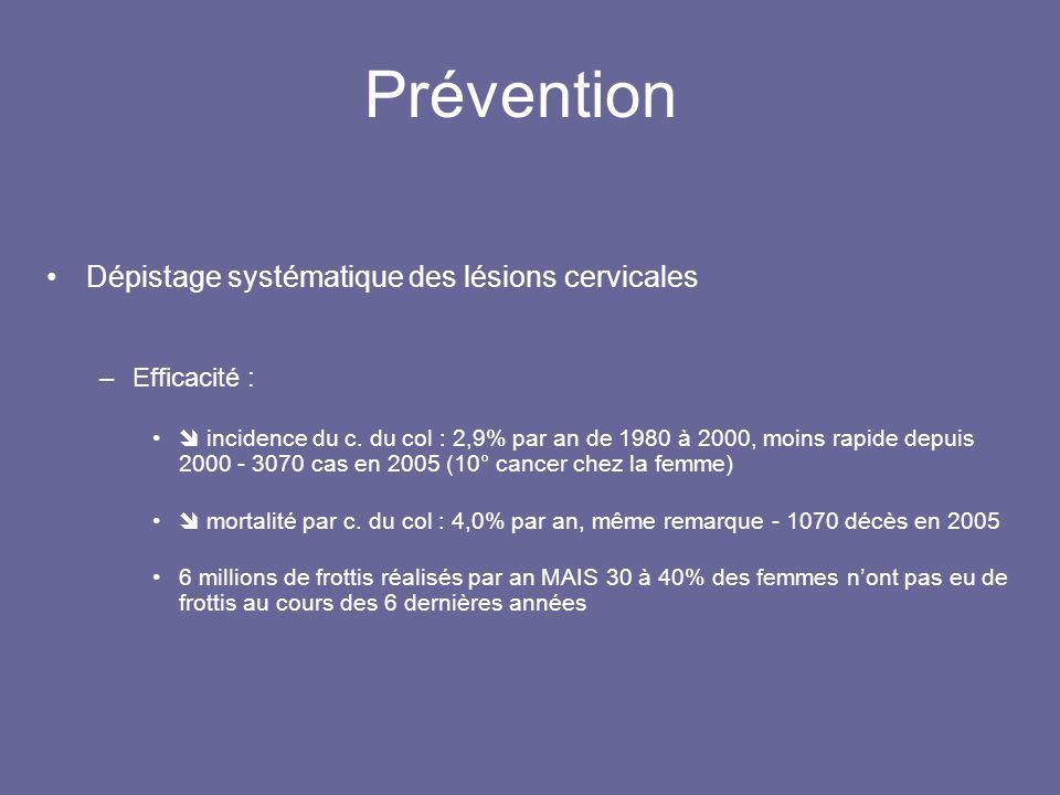 Prévention Dépistage systématique des lésions cervicales –Efficacité : incidence du c.