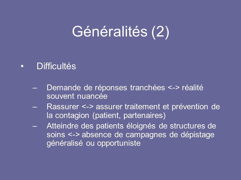 Généralités (3) IST importantes en France en 2010 –Herpès –Infections à Chlamydia trachomatis –Infections à HPV –Syphilis –Lymphogranulomatose vénérienne –Hépatites et VIH/SIDA (non traités ici)