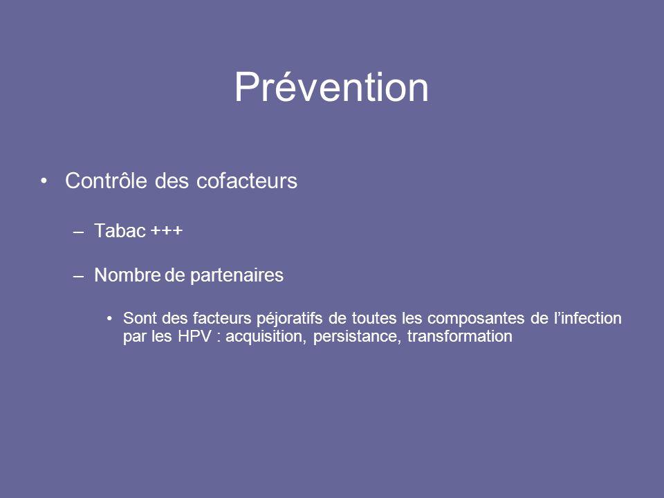 Prévention Contrôle des cofacteurs –Tabac +++ –Nombre de partenaires Sont des facteurs péjoratifs de toutes les composantes de linfection par les HPV : acquisition, persistance, transformation