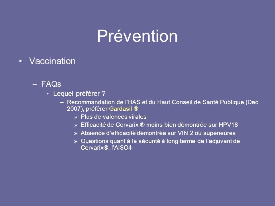 Prévention Vaccination –FAQs Lequel préférer .