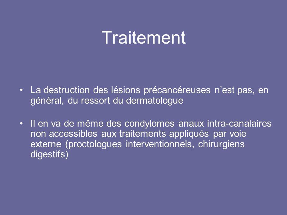 Traitement La destruction des lésions précancéreuses nest pas, en général, du ressort du dermatologue Il en va de même des condylomes anaux intra-canalaires non accessibles aux traitements appliqués par voie externe (proctologues interventionnels, chirurgiens digestifs)