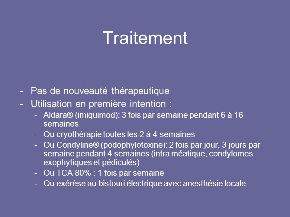 Traitement -Pas de nouveauté thérapeutique -Utilisation en première intention : -Aldara® (imiquimod): 3 fois par semaine pendant 6 à 16 semaines -Ou cryothérapie toutes les 2 à 4 semaines -Ou Condyline® (podophylotoxine): 2 fois par jour, 3 jours par semaine pendant 4 semaines (intra méatique, condylomes exophytiques et pédiculés) -Ou TCA 80% : 1 fois par semaine -Ou exérèse au bistouri électrique avec anesthésie locale