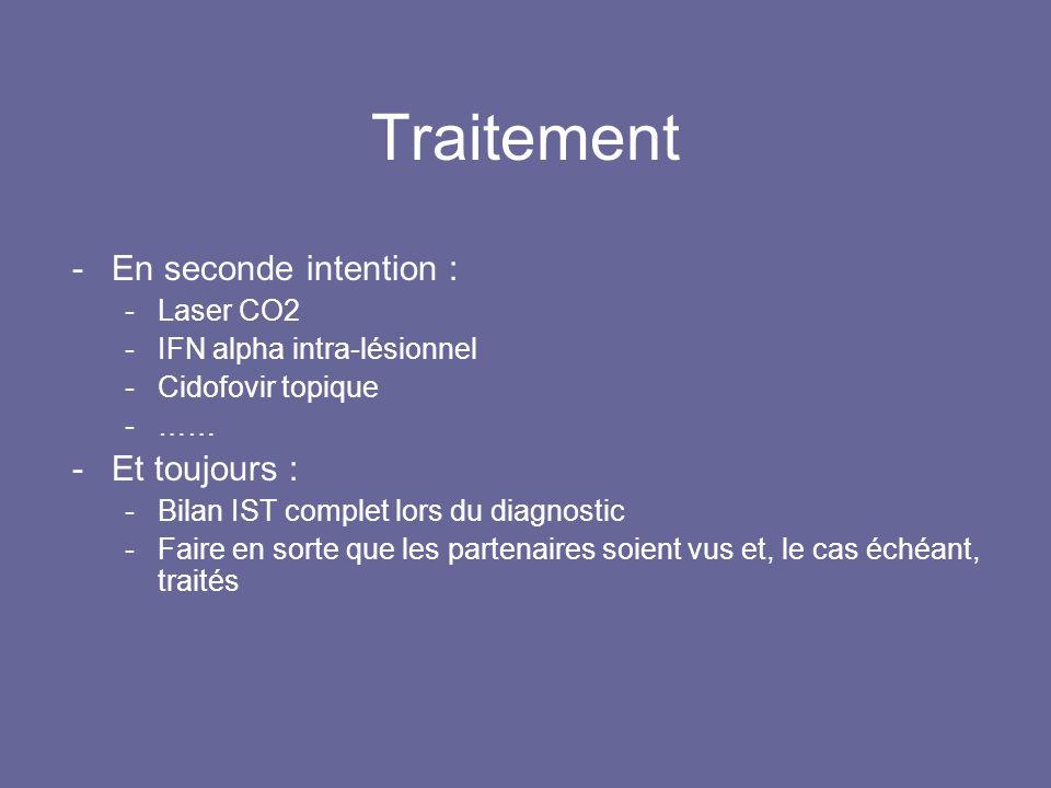 Traitement -En seconde intention : -Laser CO2 -IFN alpha intra-lésionnel -Cidofovir topique -…… -Et toujours : -Bilan IST complet lors du diagnostic -Faire en sorte que les partenaires soient vus et, le cas échéant, traités