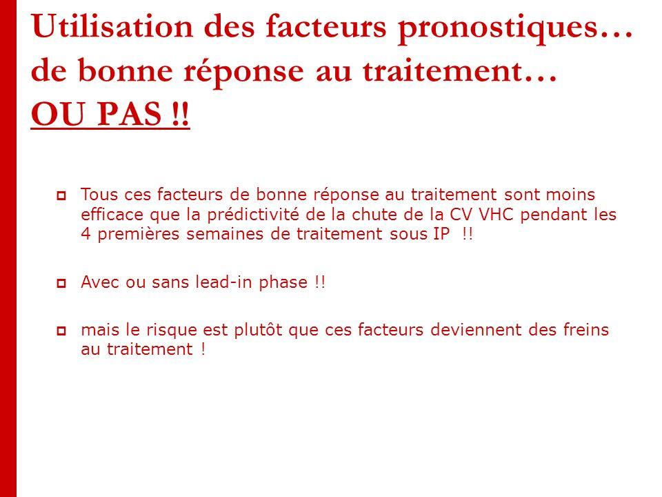 Utilisation des facteurs pronostiques… de bonne réponse au traitement… OU PAS !.