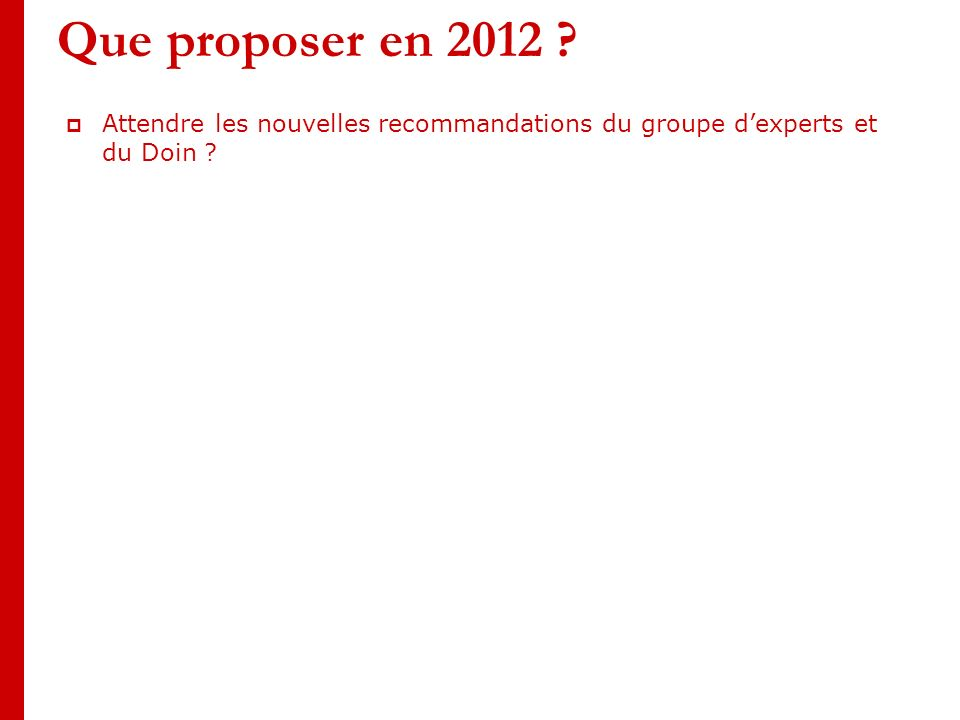 Que proposer en 2012 . Attendre les nouvelles recommandations du groupe dexperts et du Doin .