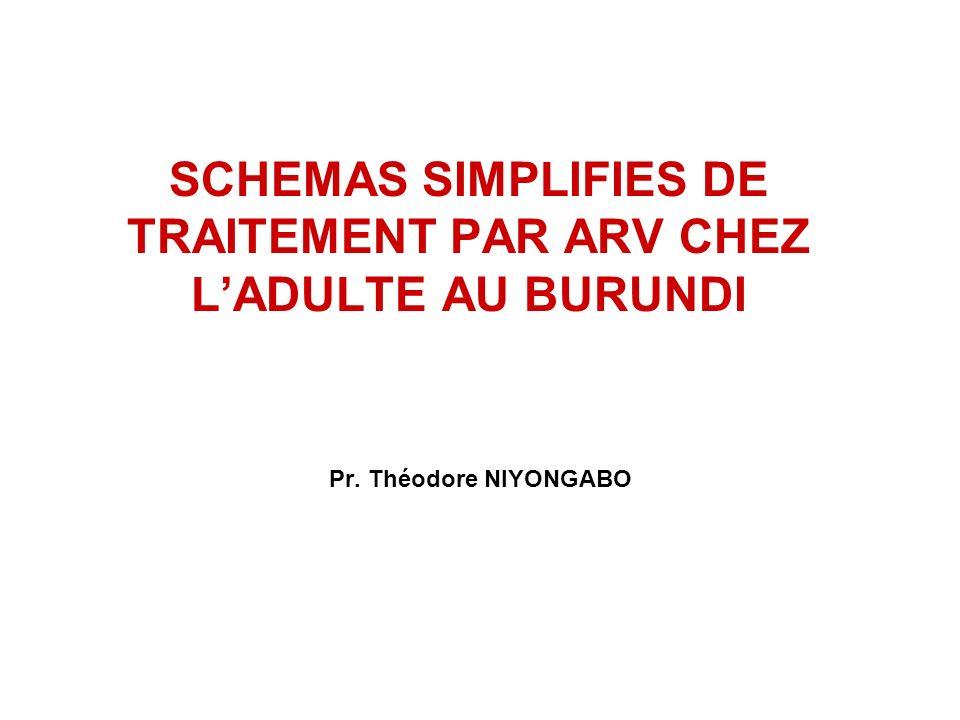 SCHEMAS SIMPLIFIES DE TRAITEMENT PAR ARV CHEZ LADULTE AU BURUNDI Pr. Théodore NIYONGABO