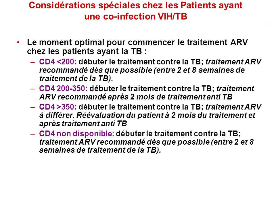 Considérations spéciales chez les Patients ayant une co-infection VIH/TB Le moment optimal pour commencer le traitement ARV chez les patients ayant la