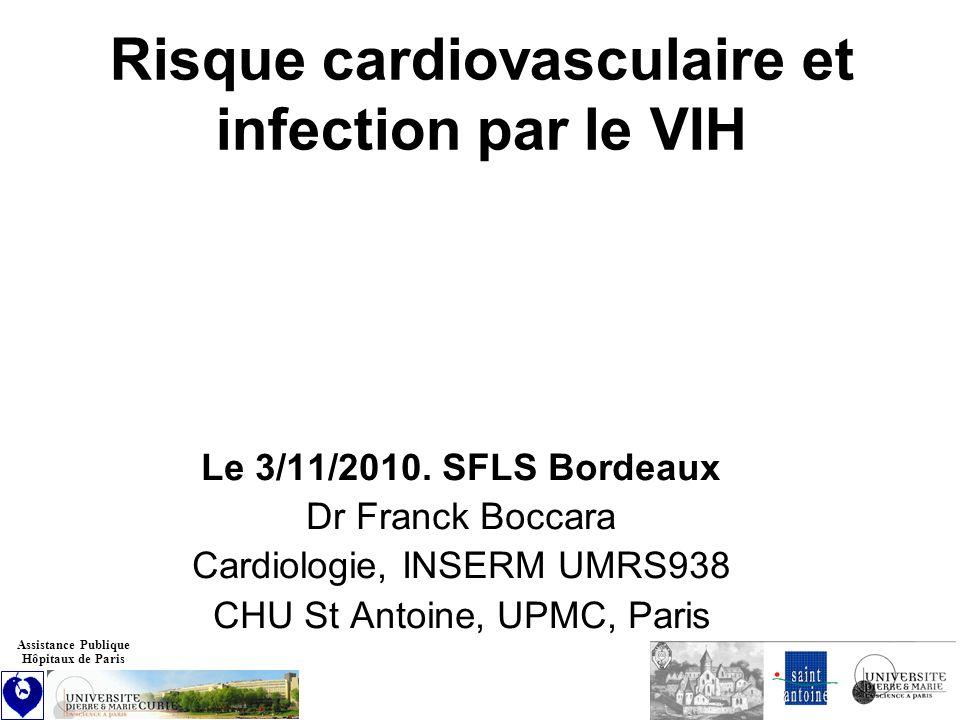 Métabolisme lipidique : mécanisme multifactoriel Rôle de lâge, de létat nutritionnel, des CD4, de linflammation liée au VIH et de certains ARV Seuils : hypertriglycéridémie (> 2 g/l), hypercholestérolémie (en fonction niveau de risque), diminution du HDL-c (< 0.4 g/l) Prise en charge 1.