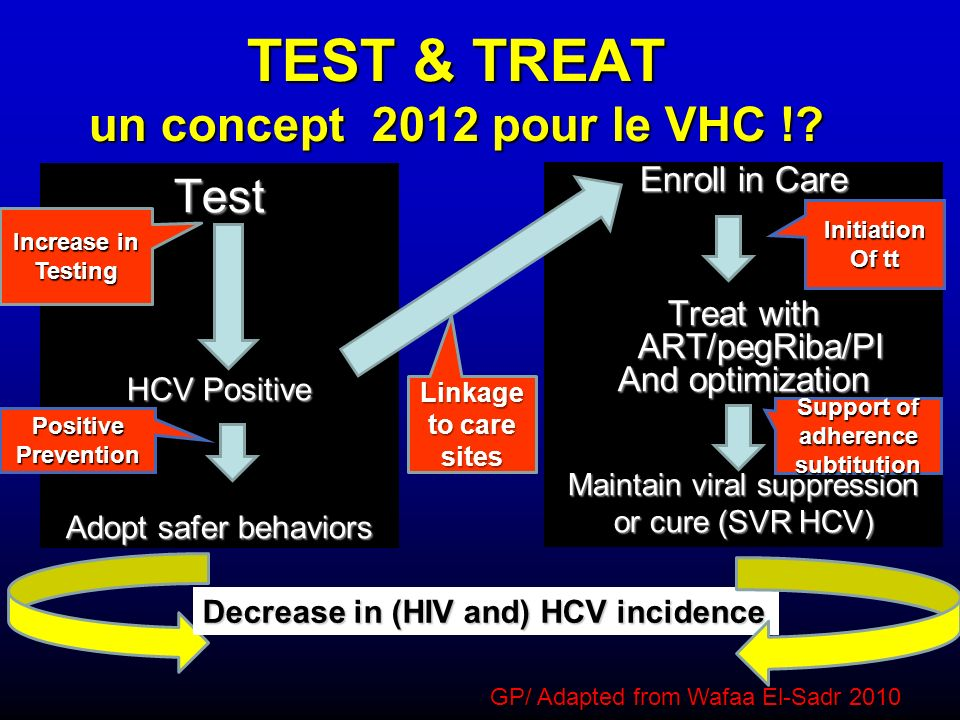 TEST & TREAT un concept 2012 pour le VHC !? Test HCV Positive Adopt safer behaviors Enroll in Care Treat with ART/pegRiba/PI And optimization Maintain