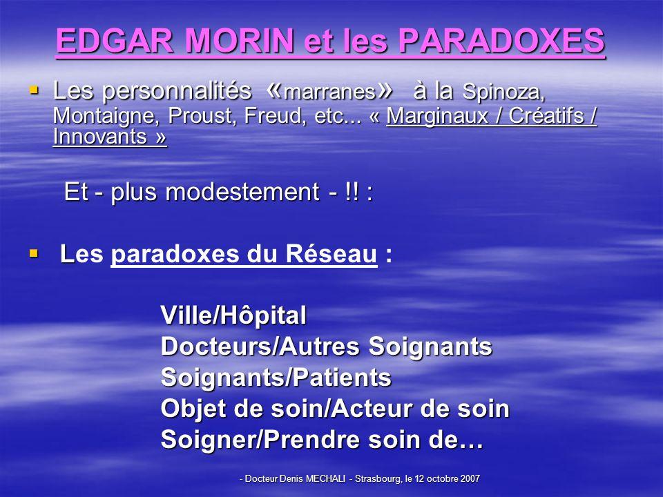 - Docteur Denis MECHALI - Strasbourg, le 12 octobre 2007 EDGAR MORIN et les PARADOXES Les personnalités « marranes » à la Spinoza, Montaigne, Proust, Freud, etc...
