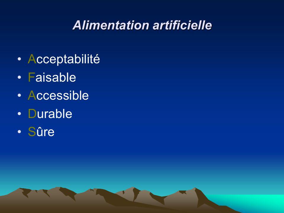 Alimentation artificielle Acceptabilité Faisable Accessible Durable Sûre
