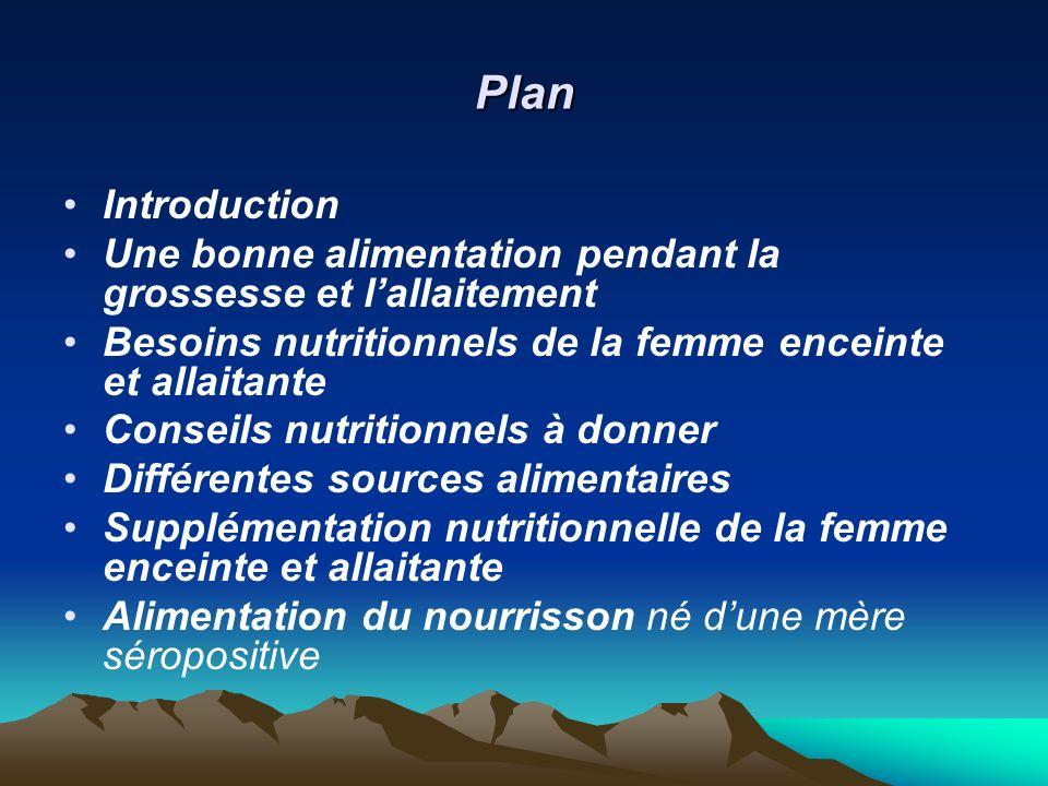 Plan Introduction Une bonne alimentation pendant la grossesse et lallaitement Besoins nutritionnels de la femme enceinte et allaitante Conseils nutrit