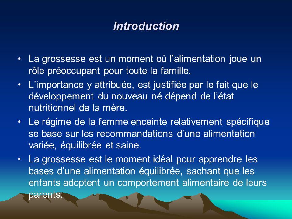Introduction La grossesse est un moment où lalimentation joue un rôle préoccupant pour toute la famille. Limportance y attribuée, est justifiée par le