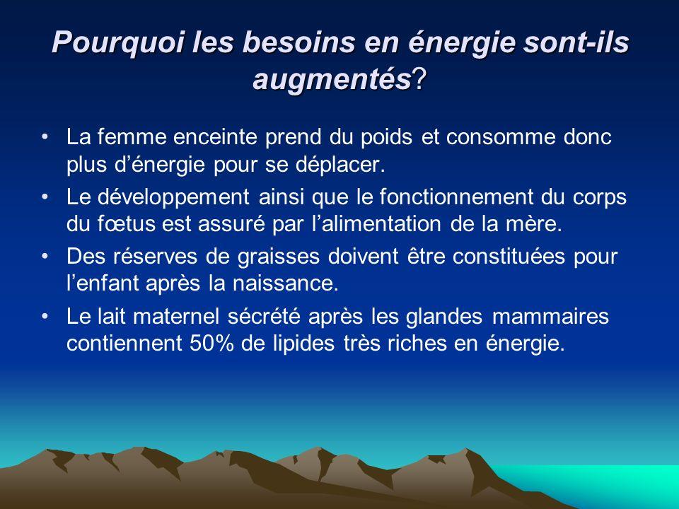 Pourquoi les besoins en énergie sont-ils augmentés? La femme enceinte prend du poids et consomme donc plus dénergie pour se déplacer. Le développement