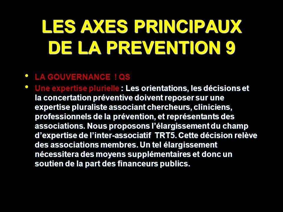 LES AXES PRINCIPAUX DE LA PREVENTION 9 LA GOUVERNANCE .