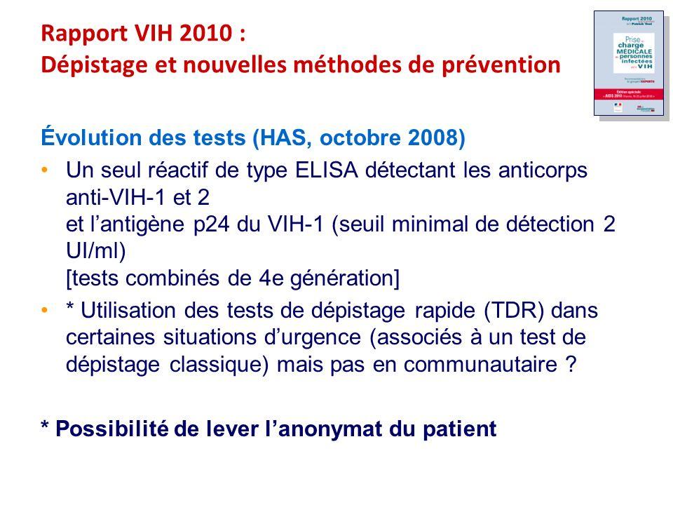 Rapport VIH 2010 : Dépistage et nouvelles méthodes de prévention Évolution des tests (HAS, octobre 2008) Un seul réactif de type ELISA détectant les anticorps anti-VIH-1 et 2 et lantigène p24 du VIH-1 (seuil minimal de détection 2 UI/ml) [tests combinés de 4e génération] * Utilisation des tests de dépistage rapide (TDR) dans certaines situations durgence (associés à un test de dépistage classique) mais pas en communautaire .