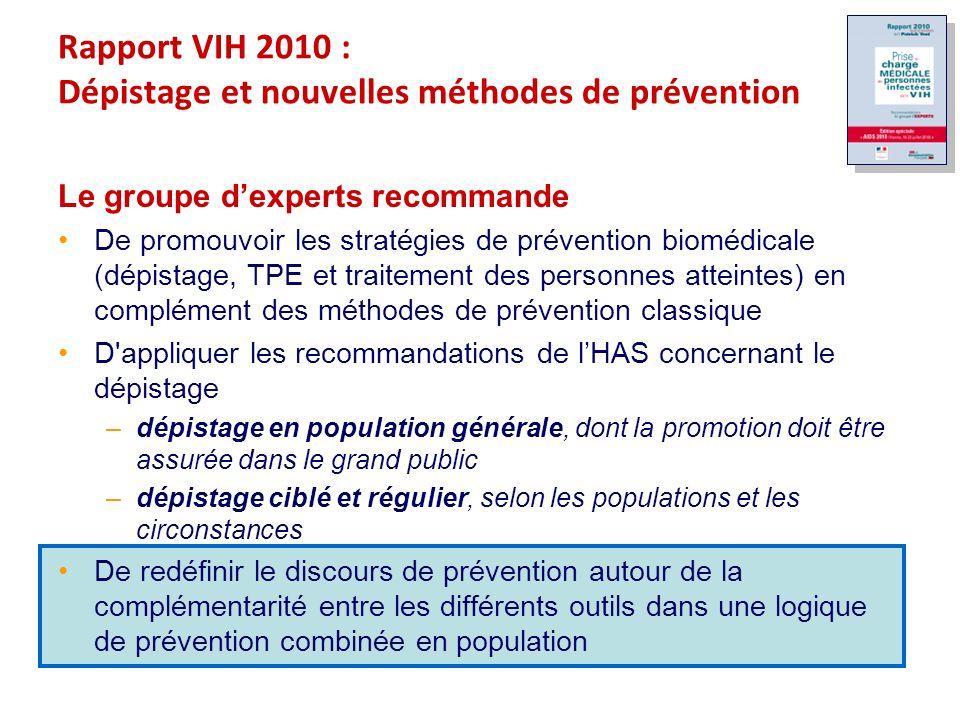 Rapport VIH 2010 : Dépistage et nouvelles méthodes de prévention Le groupe dexperts recommande De promouvoir les stratégies de prévention biomédicale (dépistage, TPE et traitement des personnes atteintes) en complément des méthodes de prévention classique D appliquer les recommandations de lHAS concernant le dépistage –dépistage en population générale, dont la promotion doit être assurée dans le grand public –dépistage ciblé et régulier, selon les populations et les circonstances De redéfinir le discours de prévention autour de la complémentarité entre les différents outils dans une logique de prévention combinée en population