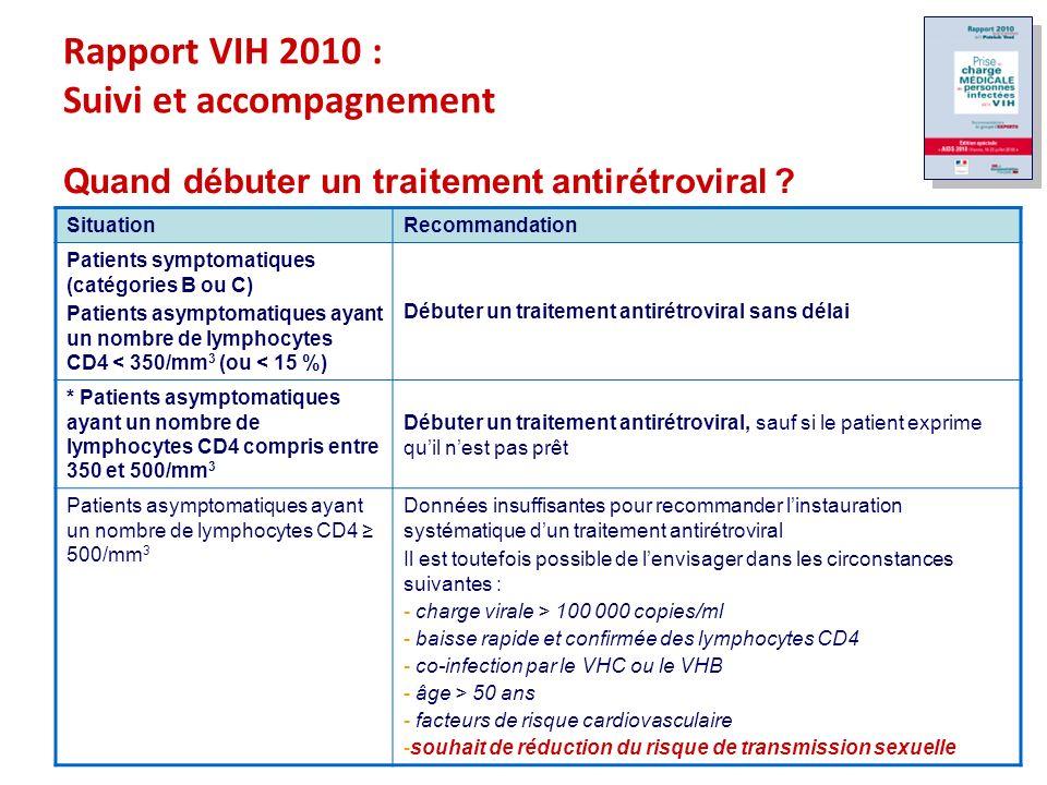 Rapport VIH 2010 : Suivi et accompagnement Quand débuter un traitement antirétroviral .