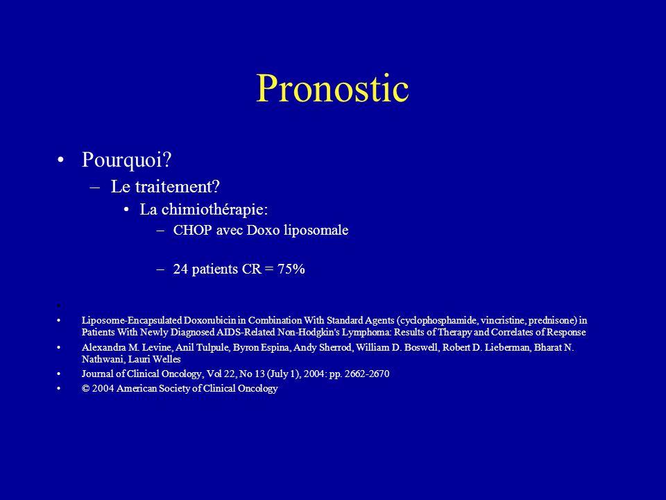 Pronostic Pourquoi? –Le traitement? La chimiothérapie: –CHOP avec Doxo liposomale –24 patients CR = 75% Liposome-Encapsulated Doxorubicin in Combinati