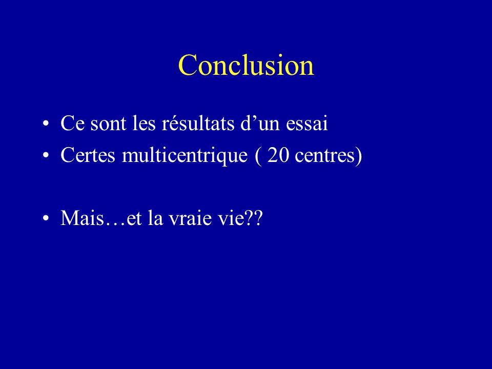 Conclusion Ce sont les résultats dun essai Certes multicentrique ( 20 centres) Mais…et la vraie vie??