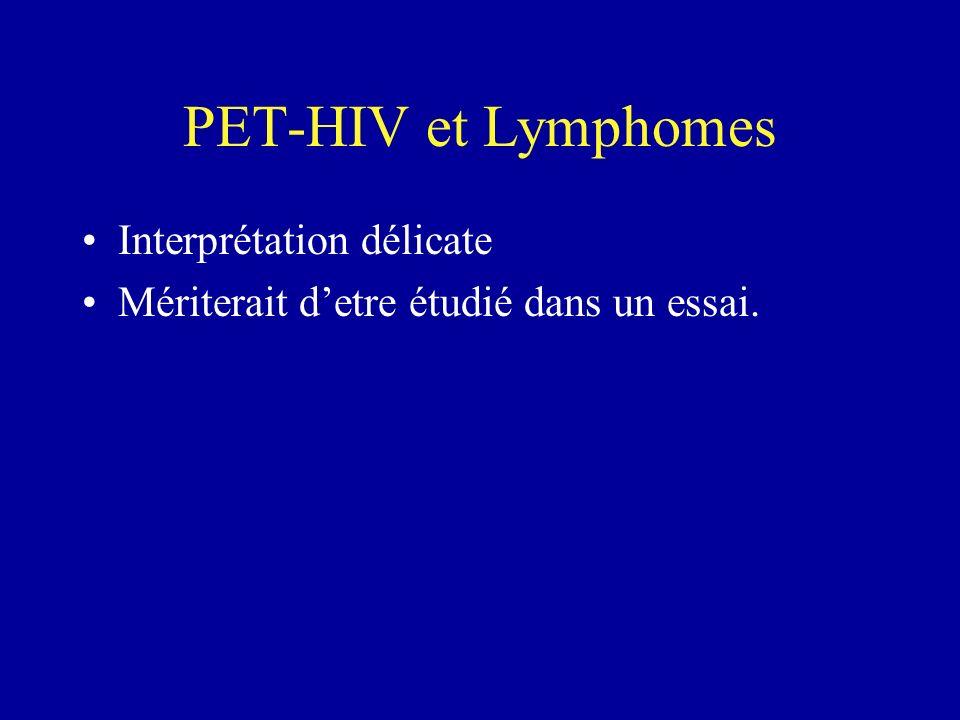 PET-HIV et Lymphomes Interprétation délicate Mériterait detre étudié dans un essai.