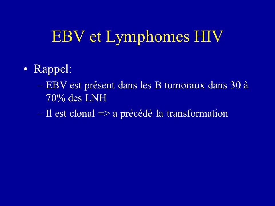 EBV et Lymphomes HIV Rappel: –EBV est présent dans les B tumoraux dans 30 à 70% des LNH –Il est clonal => a précédé la transformation